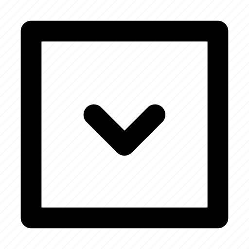 arrow, down, rectangle, square icon