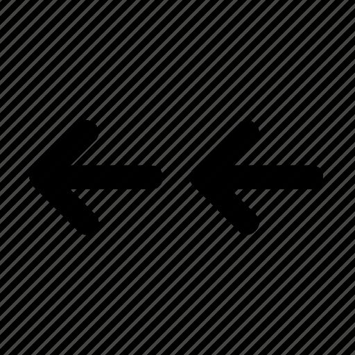 arrow, direction, double, left, movement icon