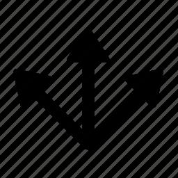 arrow, divide, multiple, road, split, street icon