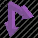 arrow symbol, directional arrows, move upward, navigation, right down icon