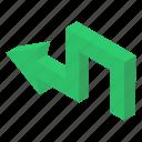 arrow sign, arrow symbol, bend left, left arrow, pointing arrow