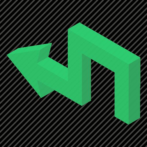 Arrow sign, arrow symbol, bend left, left arrow, pointing arrow icon - Download on Iconfinder