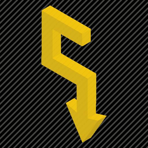 Arrow sign, arrow symbol, bend arrow, downward arrow, pointing arrow icon - Download on Iconfinder