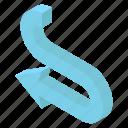 arrow sign, arrow symbol, direction arrow, left arrow, pointing arrow, u turn arrow