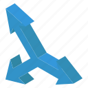decision arrow, direction arrow, direction sign, indicating arrow, road direction icon