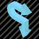 arrow sign, arrow symbol, bend right, pointing arrow, right arrow