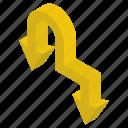 arrow symbol, bend down, direction symbol, directional arrows, navigation, road arrow icon