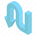 arrow sign, arrow symbol, direction arrow, pointing arrow, u turn arrow icon