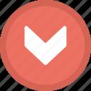 down, downward arrow, pointer, scroll down, traffic arrow icon