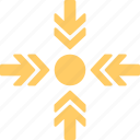 arrowheads, center point, focus, pointer, pointing center arrows icon