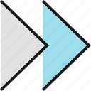 arrow, double, point, pointer, right icon