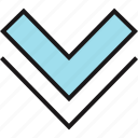 arrow, double, down, point, pointer icon