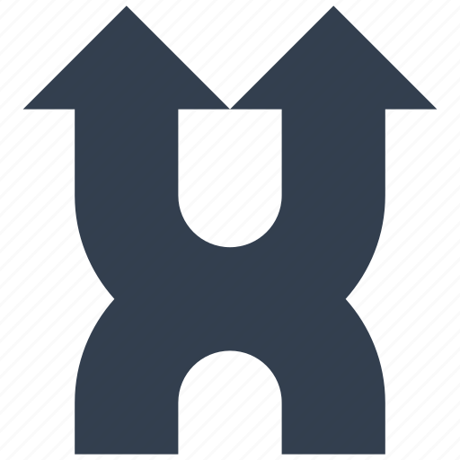 arrows, dirrection, intersection, sign, two icon