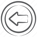 left reverse, reverse arrow, left arrow, direction arrow, arrowhead, left side arrowhead icon