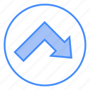 arrow, bottom, interface, sign, right