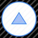 triangle, scroll, arrow, upload, up