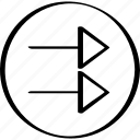 arros, arrow, double, point, pointer, right icon