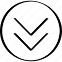 arrow, double, down, point, pointer, thin icon