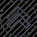 arrow, direction, double, sleek, up icon