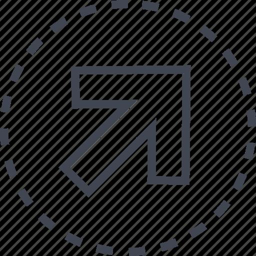 arrow, diagnol, direction, right icon