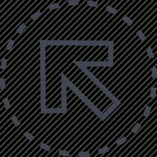 arrow, diagnol, pointer, up icon