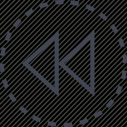 arrow, back, double, pointer icon