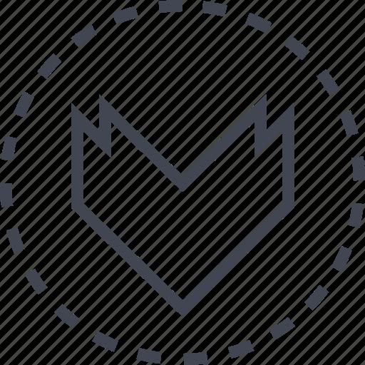 arrow, down, pointer, thick icon