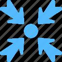arrow, exit fullscreen, minimize, multimedia sign, web arrow icon