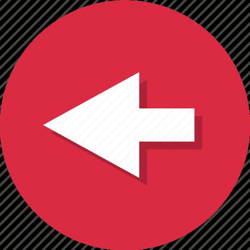 arrow, back, backward, left, point icon