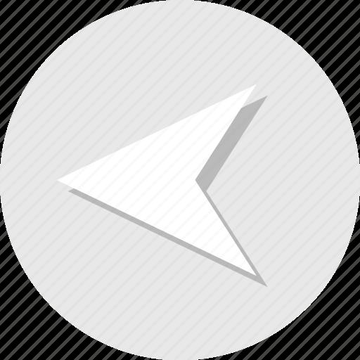 arrow, back, backwards, left, point icon