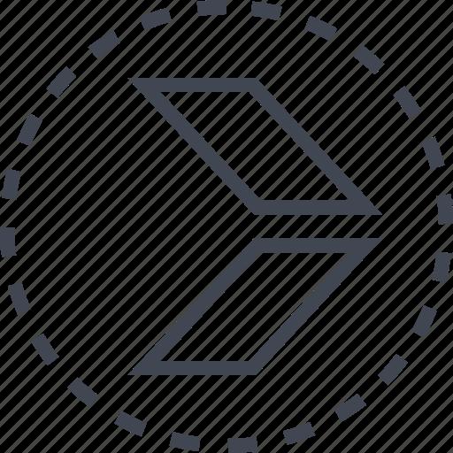 arrow, direction, double, sleek icon