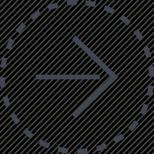 arrow, go, right, sleek icon