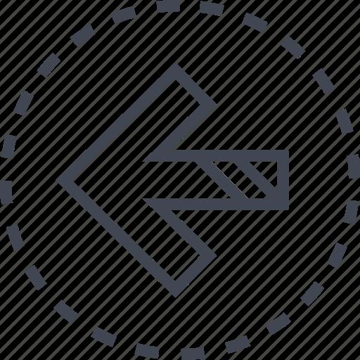 arrow, back, left, pointer icon