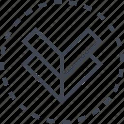 arrow, double, down, pointer icon