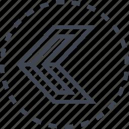 arrow, left, pointer, sleek icon