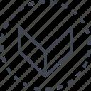 arrow, down, pointer, sleek icon
