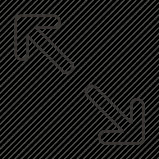 arrow, arrows, bottom right, direction, toward, towards, up left icon