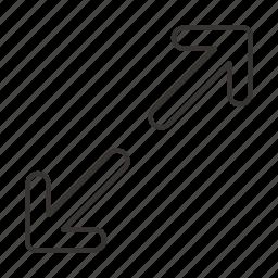 arrow, arrows, direction, left down, top right, toward, towards icon
