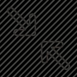 arrow, arrows, bottom right, direction, top left, toward, towards icon