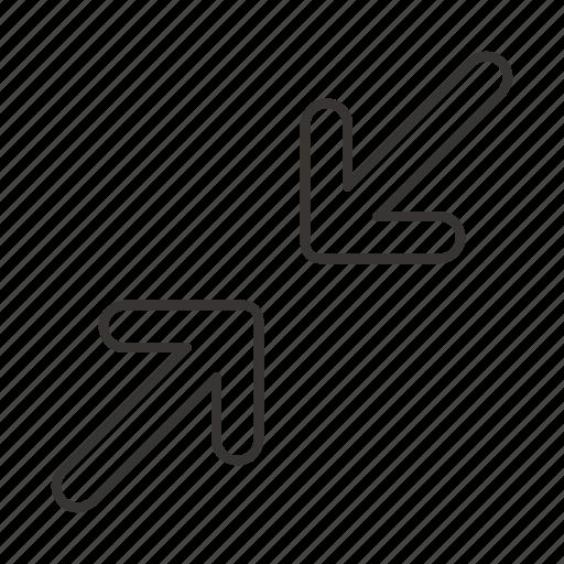 arrow, arrows, bottom left, direction, top right, toward, towards icon