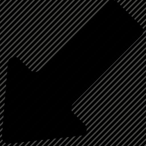 arrow, bolded, down, left icon