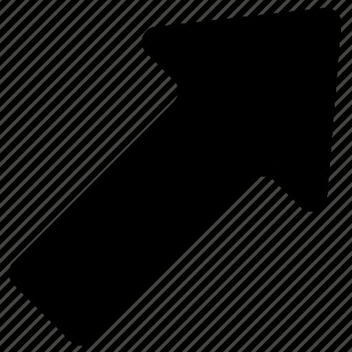 arrow, bolded, right, up icon