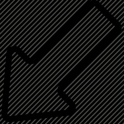 arrow, bolded, down, left, plain icon