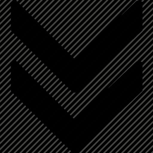 arrow, bolded, double, down icon