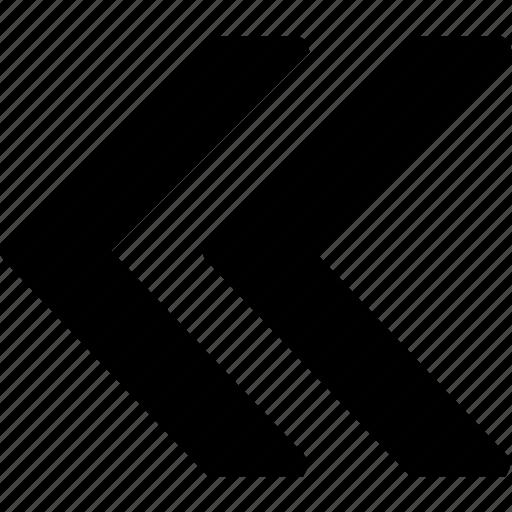 arrow, bolded, double, left icon