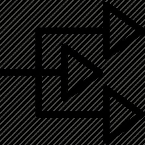 arrow, right, triple icon