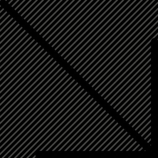 arrow, down, plain, right icon