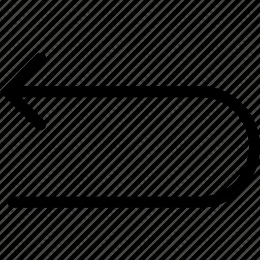 arrow, left, uturn icon