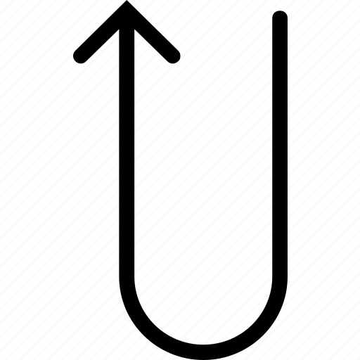 arrow, up, uturn icon