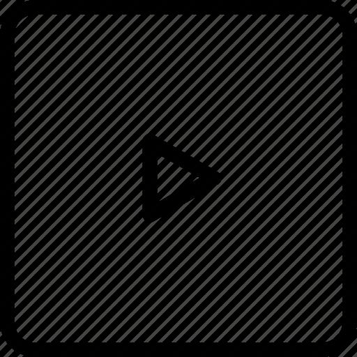 arrow, media, play, right, square icon